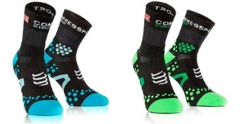 Compressport Socks V2 Run Hi ( Black / Blue; Black / Green; Black / Orange)