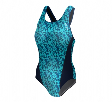ZONE3 WOMEN'S PRISM CLASSIC BACK - LIGHT BLUE   DARK BLUE - SWIMWEAR