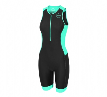 ZONE3 WOMEN'S AQUAFLO PLUS TRISUIT - BLACK  GREY MIN