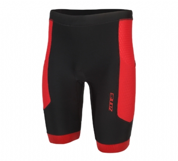 ZONE3 MEN'S AQUAFLO PLUS SHORTS - BLACK  GREY RED - TRI SEPARATES