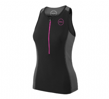 ZONE3 WOMEN'S AQUAFLO PLUS TOP- BLACK  GREY NEON PINK - TRI SEPARATES
